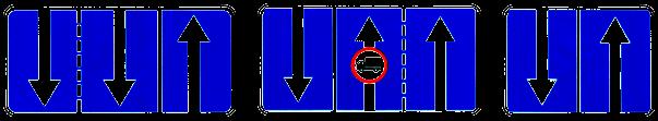 Знак Направление движения по полосам